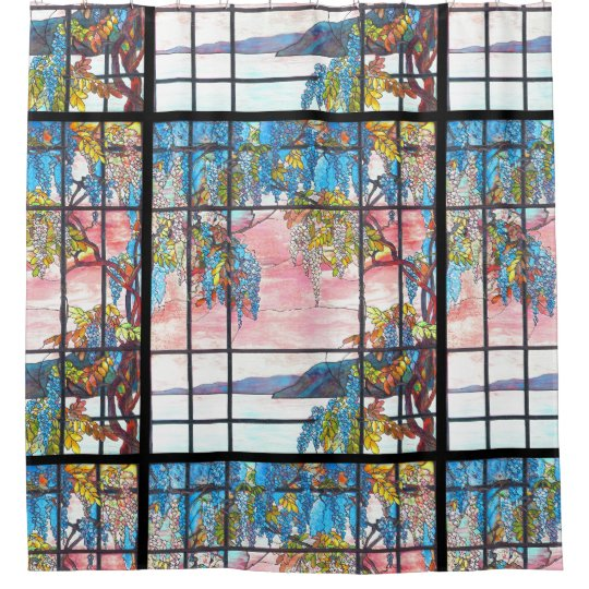 Art Nouveau Tiffany Stained Glass Wisteria Flowers Shower Curtain
