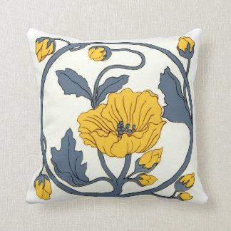 Art Nouveau Tile Flowers Throw Pillow