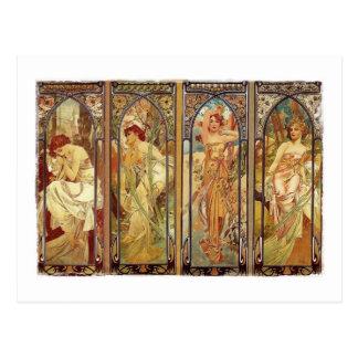 Art Nouveau Times of Day Postcard