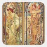 Art Nouveau Times of Day Square Sticker