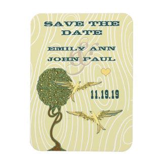 Art Nouveau Tree Birds Wood Grain Save the Date Rectangle Magnets