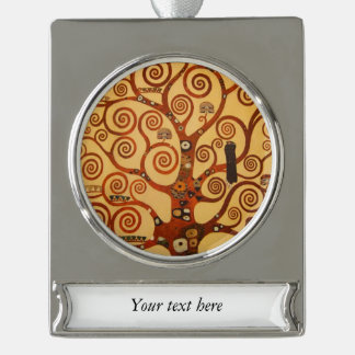 Art Nouveau Tree Life Silver Plated Banner Ornament