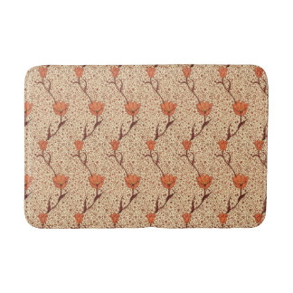 Art Nouveau Tulip Damask, Coral Orange and Beige Bath Mat