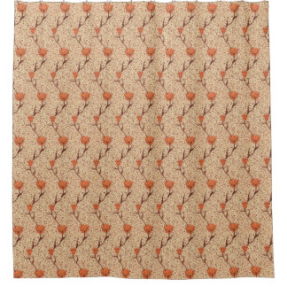 Art Nouveau Tulip Damask, Coral Orange and Beige Shower Curtain