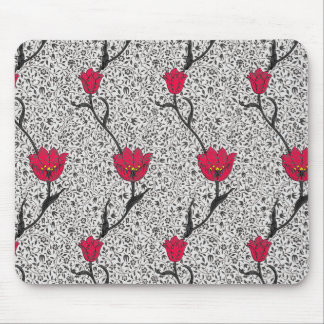 Art Nouveau Tulip Damask, Grey and Red Mouse Pad