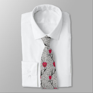 Art Nouveau Tulip Damask, Grey and Red Tie