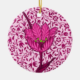 Art Nouveau Tulip Damask, Wine & Fuchsia Pink Ceramic Ornament