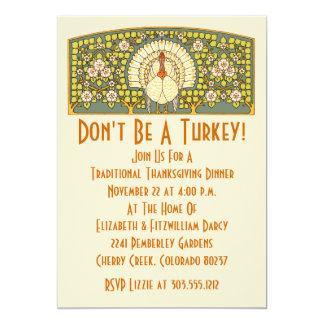 Art Nouveau Turkey Thanksgiving Dinner Invitation
