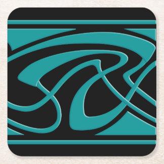 Art Nouveau Turquoise Design Square Paper Coaster