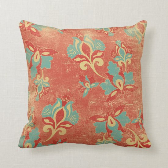 Art Nouveau Turquoise Orange Floral Throw Pillow
