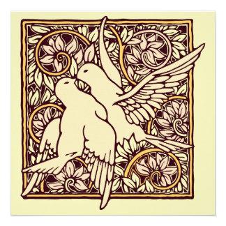 Art Nouveau Turtle Doves Wedding Invitation