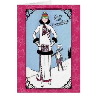 Art nouveau ugly hat knitting crochet Christmas Card