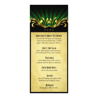 Art Nouveau Vegas Dinner Menu green Card
