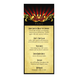 Art Nouveau Vegas Dinner Menu red Card
