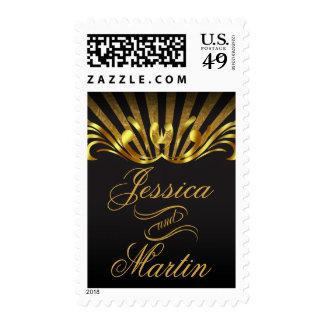 Art Nouveau Vegas | gold black Postage Stamp