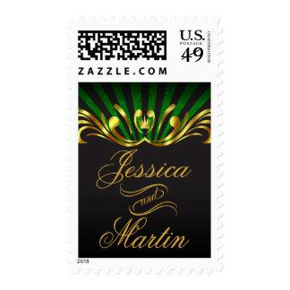 Art Nouveau Vegas | gold green Postage Stamp