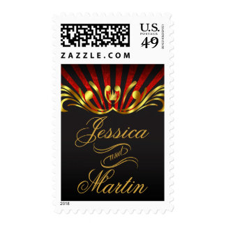 Art Nouveau Vegas | gold red Postage Stamp