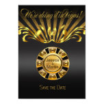 Art Nouveau Vegas Save the Date   gold black Invites