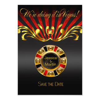 Art Nouveau Vegas Save the Date | gold red Card