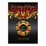 Art Nouveau Vegas Save the Date | gold red 5x7 Paper Invitation Card