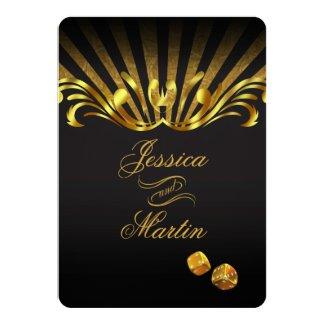 Art Nouveau Vegas Wedding | gold black Card