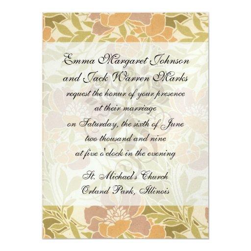 art nouveau vibrant beautiful flower pattern 5.5x7.5 paper invitation card