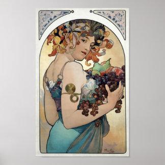 """Art Nouveau vintage 1897 """"Fruit"""" by Alphonse Mucha Poster"""
