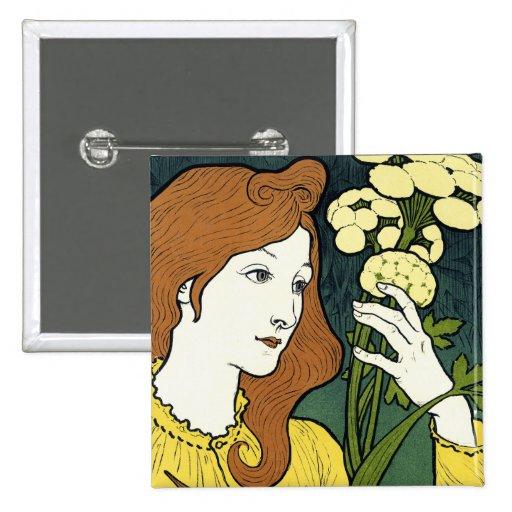 Art Nouveau Vintage Art: by Grasset 2 Inch Square Button