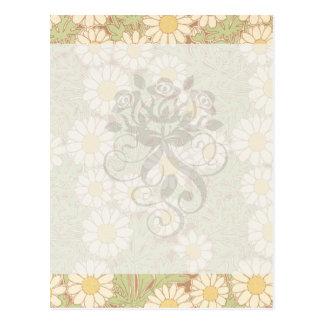 art nouveau vintage daisies daisy pattern postcard