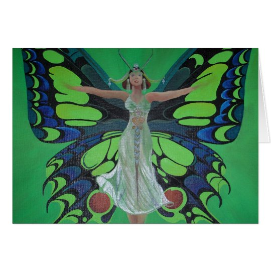 Art Nouveau Vintage Flapper With Butterfly Wings Card