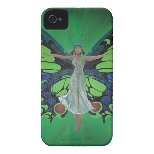 Art Nouveau Vintage Flapper With Butterfly Wings Case-Mate iPhone 4 Case