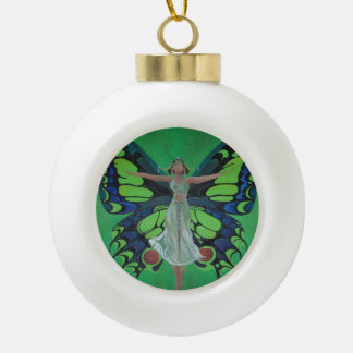 Art Nouveau Vintage Flapper With Butterfly Wings Ceramic Ball Christmas Ornament