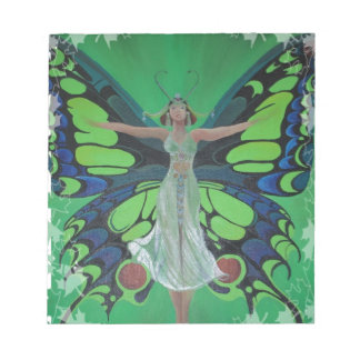 Art Nouveau Vintage Flapper With Butterfly Wings Notepad