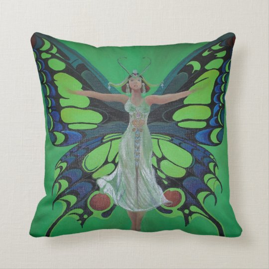 Art Nouveau Vintage Flapper With Butterfly Wings Throw Pillow