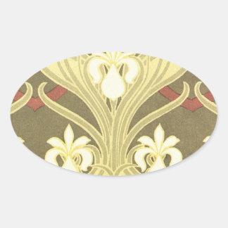 art nouveau vintage flora oval stickers