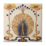 """Art Nouveau Vintage Peacock Design Feature Tile<br><div class=""""desc"""">Looking for unique Art Nouveau tile backsplash ideas. Own a beautiful ceramic tile replicated after the ceramic Artists of the Art Nouveau period. Ceramic tiles have been a traditional means of decorating back splashes in kitchens and bathroom walls for years. Now you can add beautiful art to any tile project...</div>"""