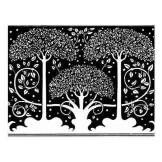 Art Nouveau Vintage Tree Pattern Postcard