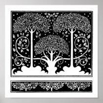 Art Nouveau Vintage Tree Pattern Poster