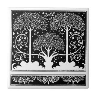 Art Nouveau Vintage Tree Pattern Tile