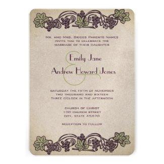 Art Nouveau Vintage Vineyard Wedding Invites