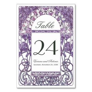 Art Nouveau Vintage Wedding Table Numbers Card