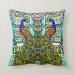 Art Nouveau VintageTiffany Stained Glass Peacock Pillow