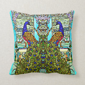 Art Nouveau VintageTiffany Stained Glass Peacock Pillows