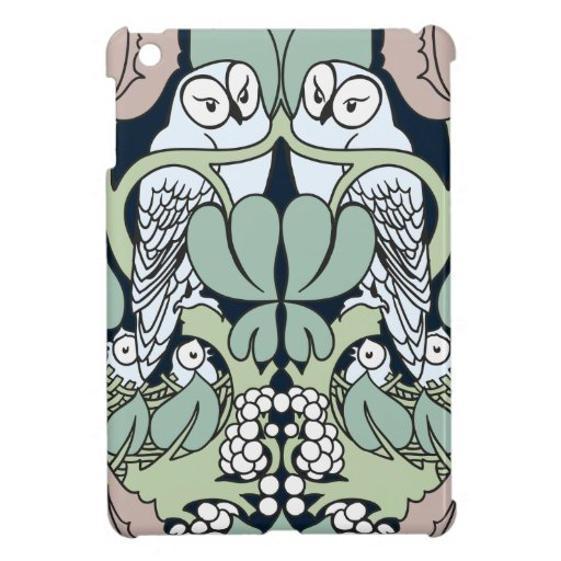 Art Nouveau Voysey Owls Nest Pattern Cover For The iPad Mini
