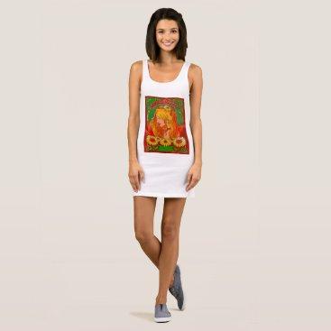 Beach Themed Art Nouveau Watercolor Womanw/Sunflowers Art Dress