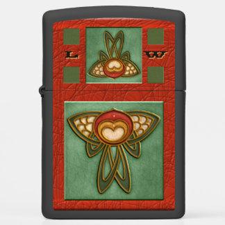 Art Nouveau Waterlily Crackle Glaze 2 Monogrammed Zippo Lighter