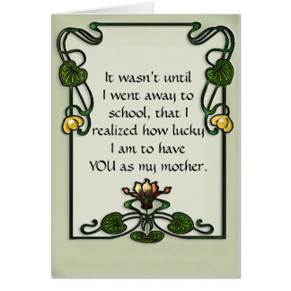 Art Nouveau Waterlily Frame on Celadon Greeting Card