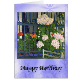 Art Nouveau White Geraniums Fence Kolo Moser Card