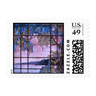 Art Nouveau Willow Tree Scenic Window Design Postage Stamp