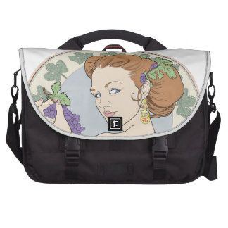 Art Nouveau Wine Lover Girl with Grapes Laptop Bags